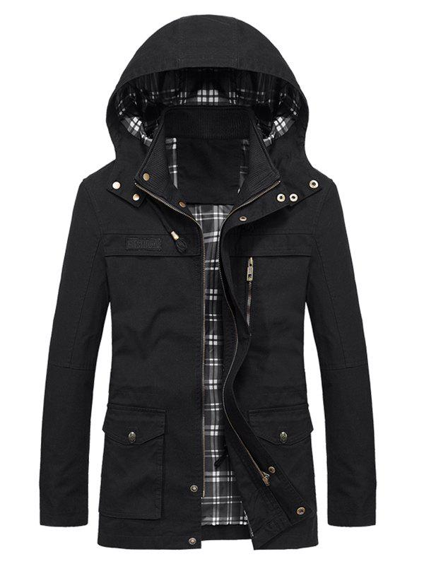 Discount Letter Zipper Embellished Hooded Coat