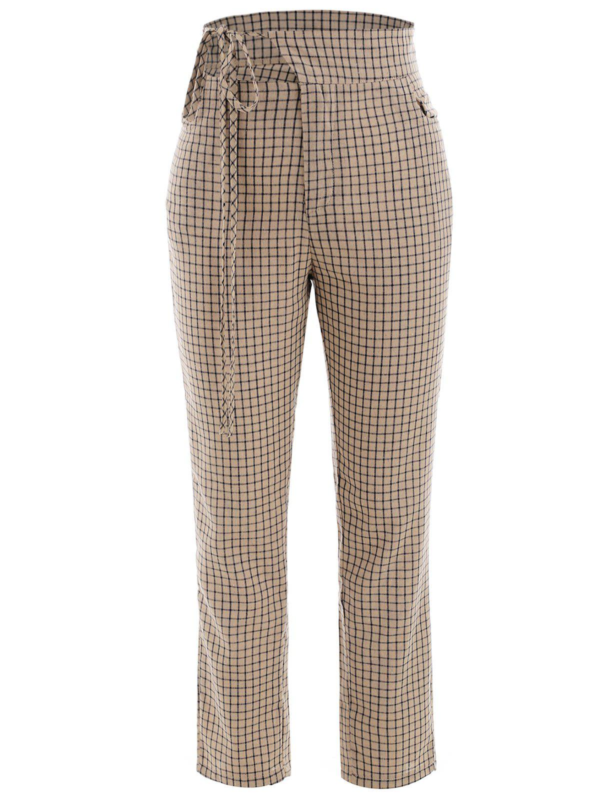 Hot Gingham Cut Out Pants
