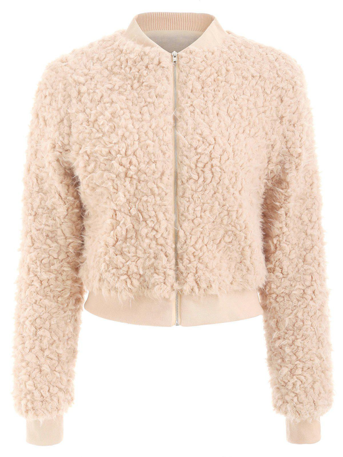 Affordable Faux Fur Zipper Fly Jacket