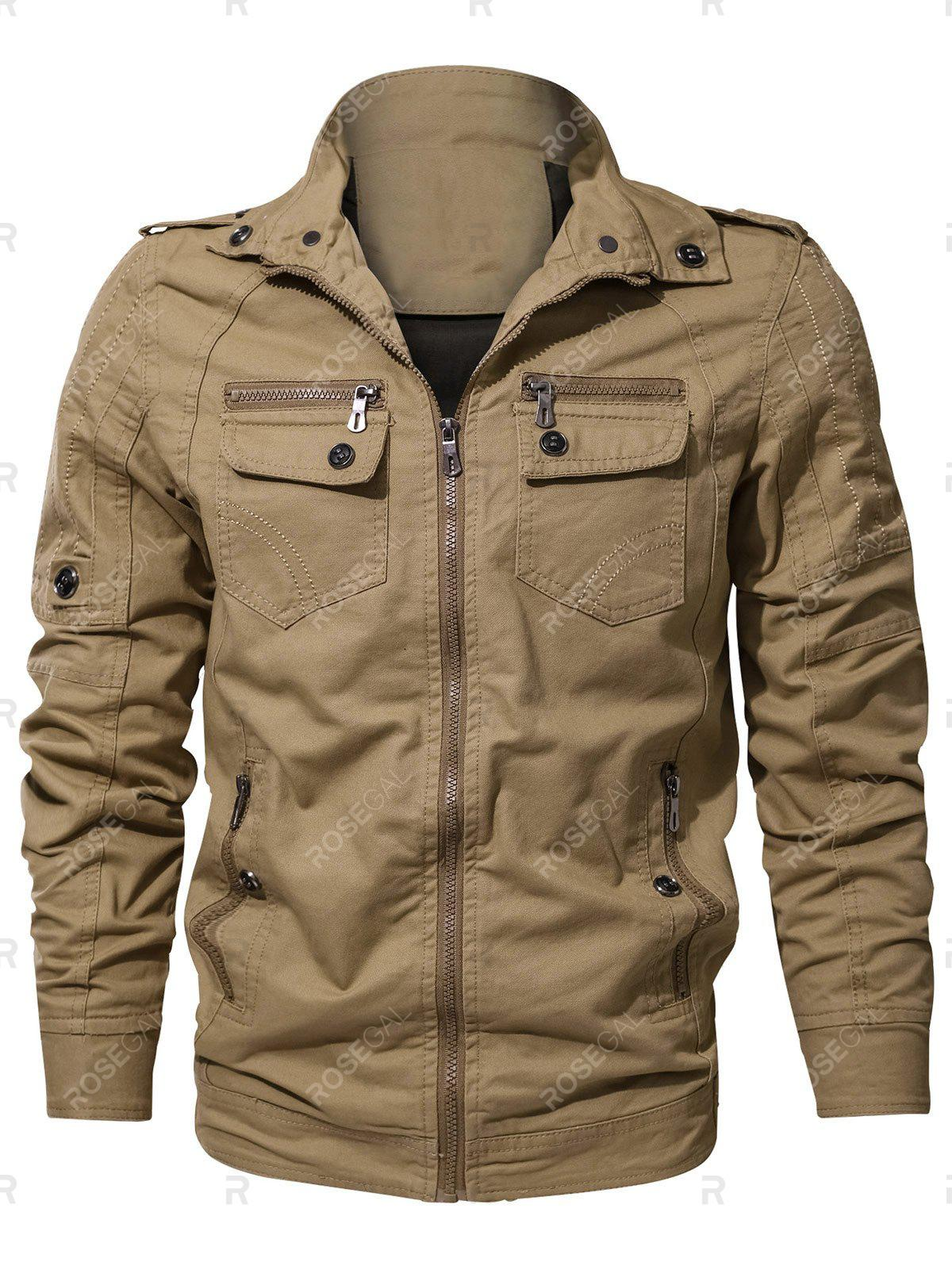 Online Casual Stitch Embellsihed Solid Color Jacket