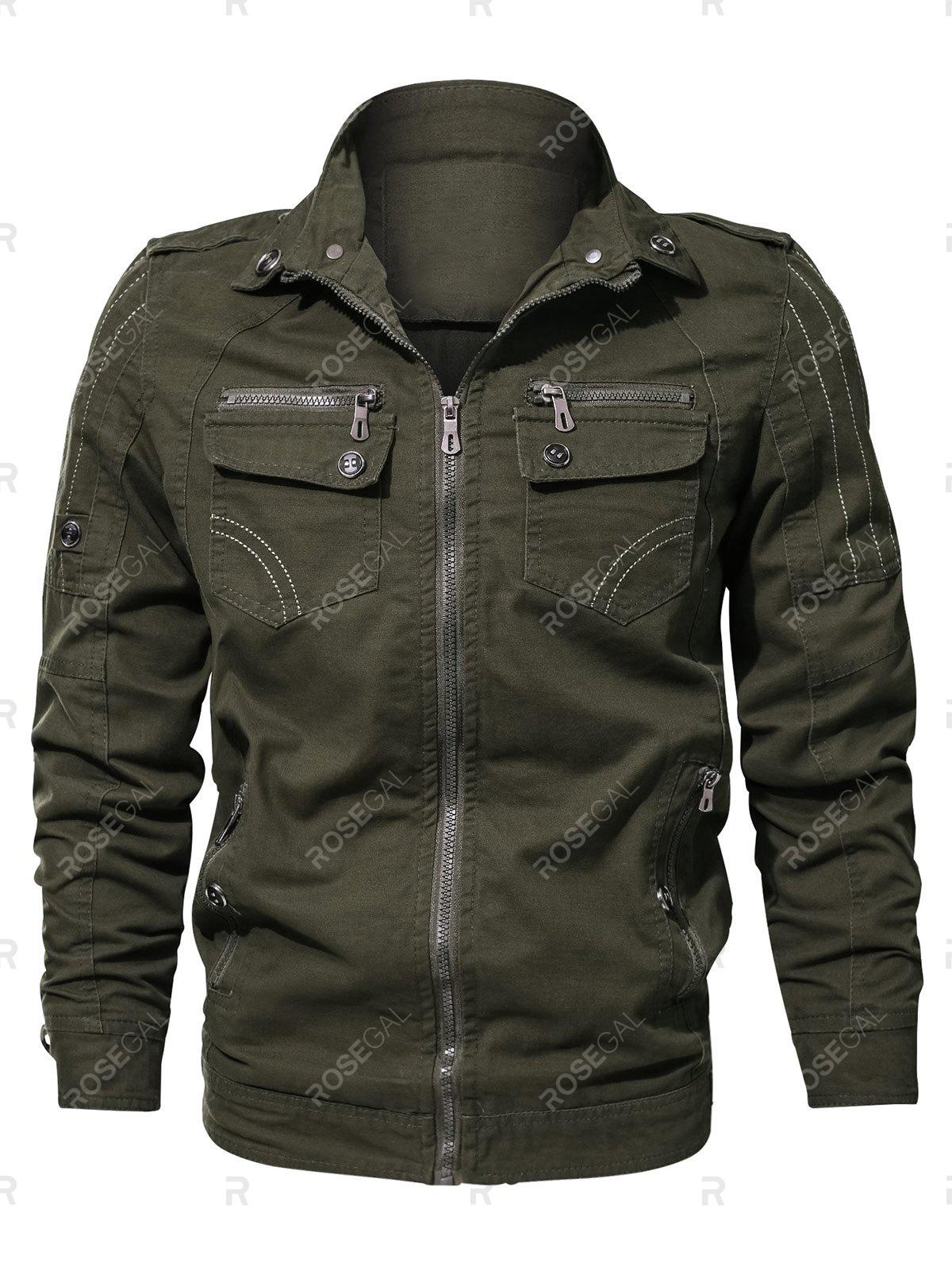 Latest Casual Stitch Embellsihed Solid Color Jacket