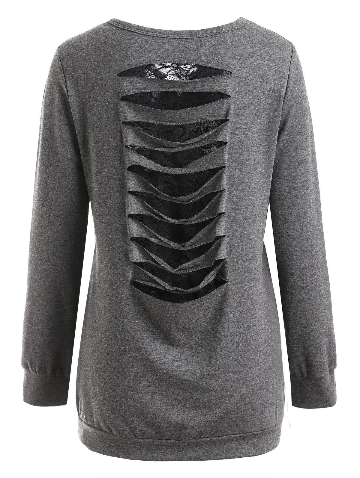 Fashion Lace Insert Ripped Sweatshirt