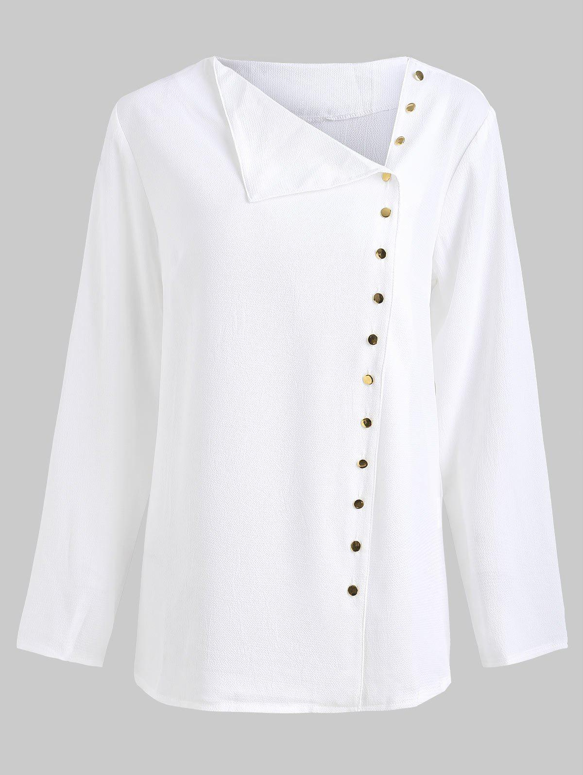 Chic Off Center Button Up Blouse