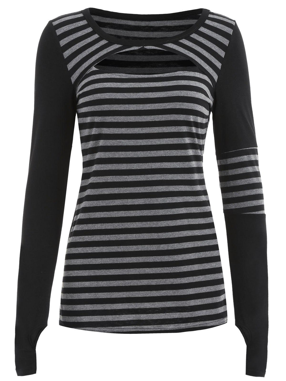 Best Full Sleeve Cutout Stripe T-shirt