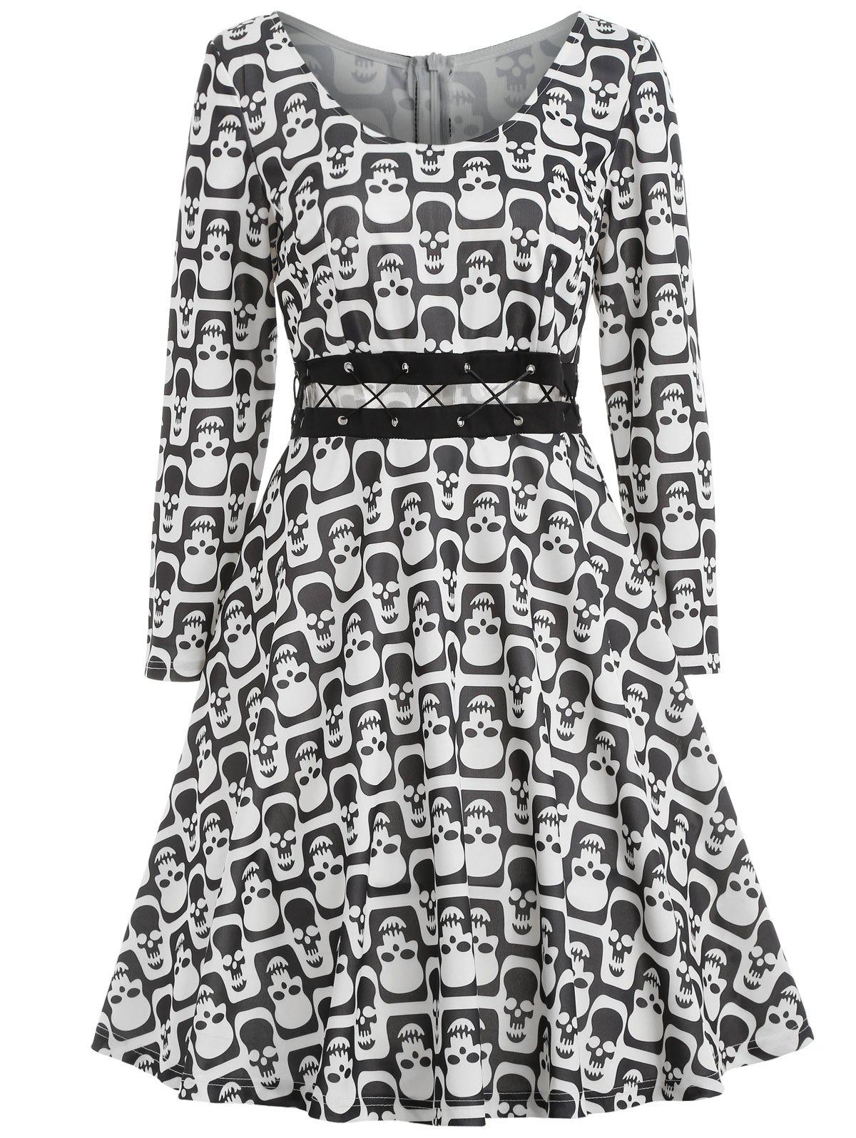 Trendy Halloween Skull Print Criss Cross Dress