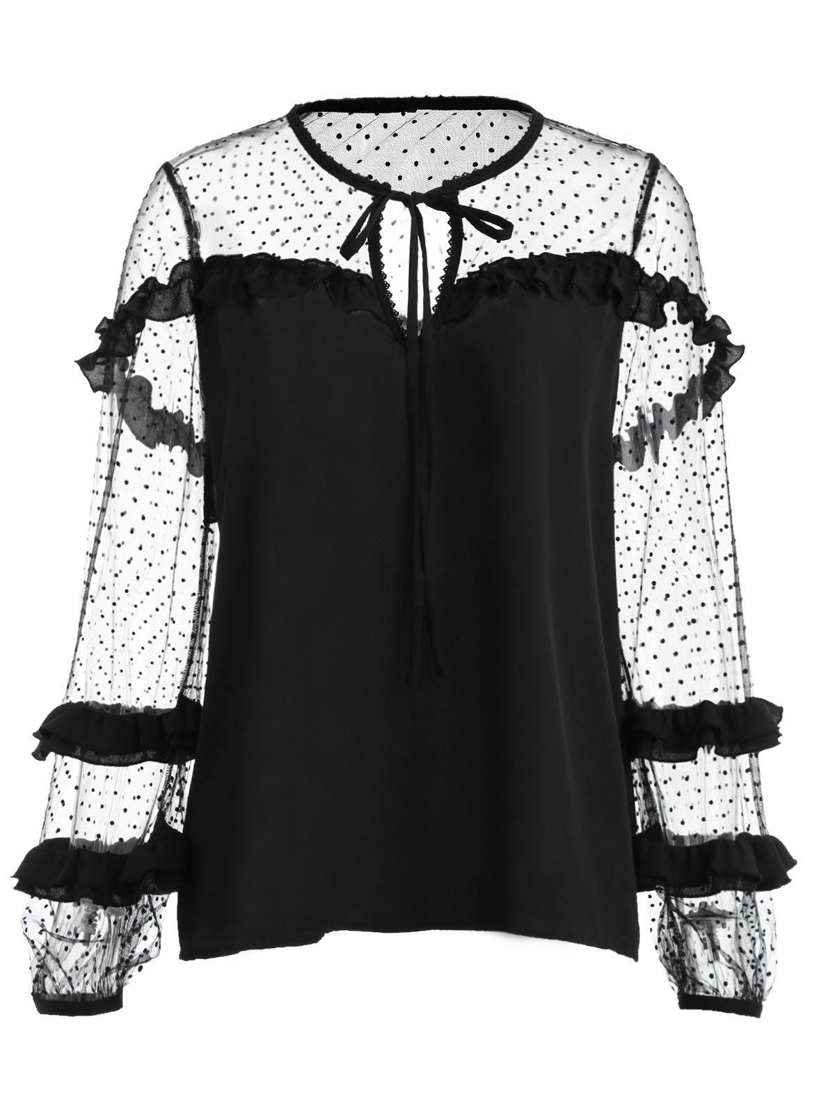 Cheap Mesh Lantern Sleeve Ruffles Blouse