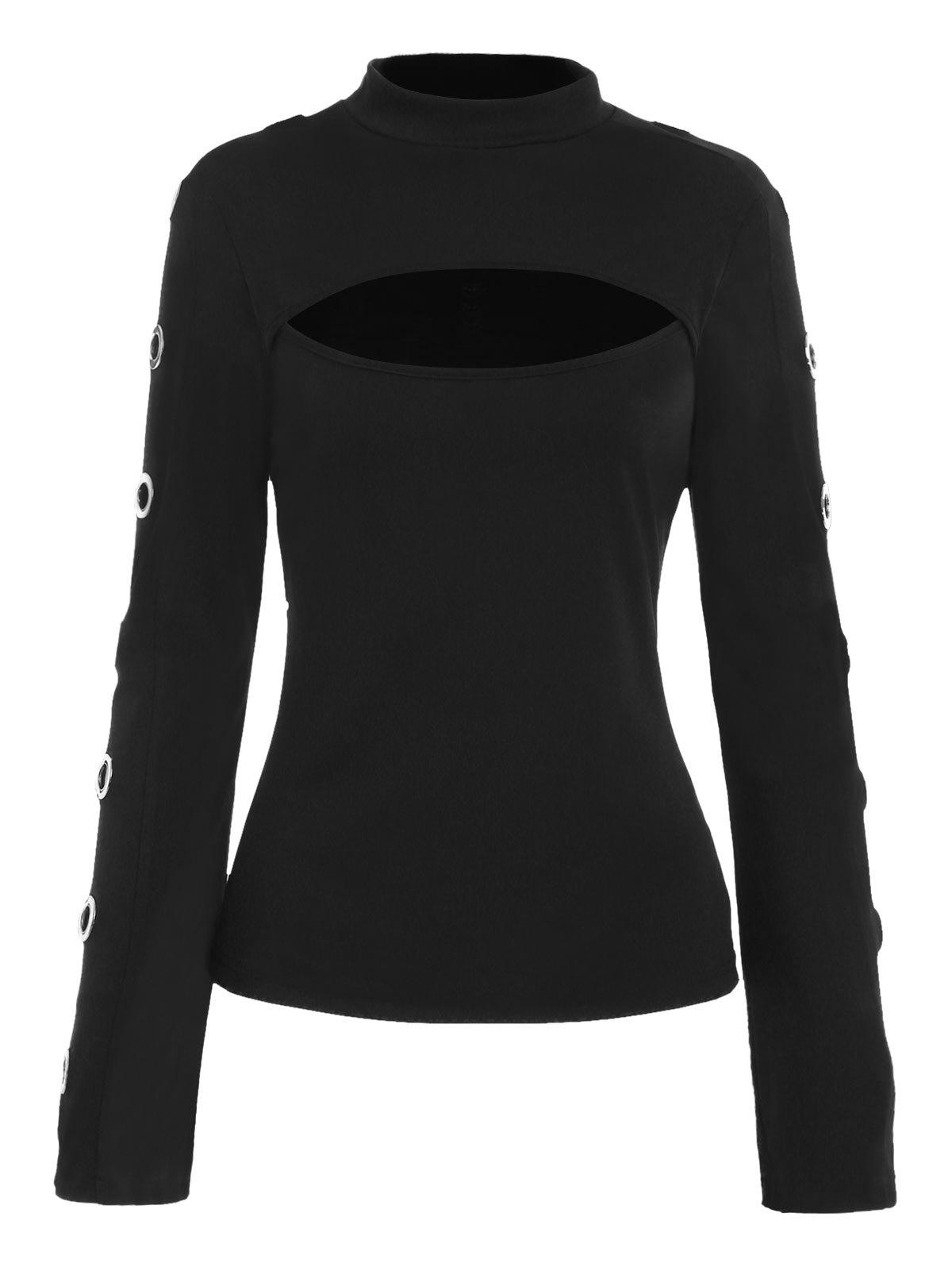 Online Cool Grommets Embellished Full Sleeve T-shirt