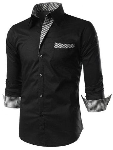 Casual Checked Panel Button Up Shirt