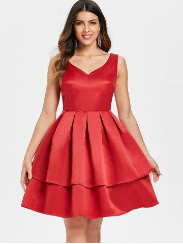 V Neck Sleeveless Fit and Flare Dress