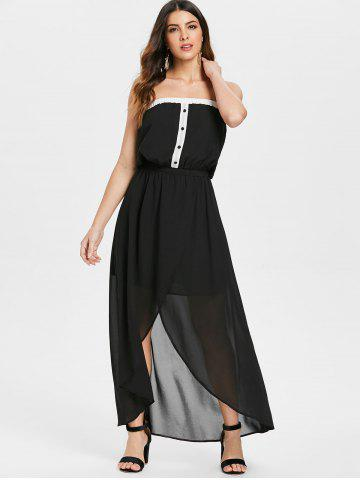 Half Buttons Bandeau Strapless Chiffon Dress