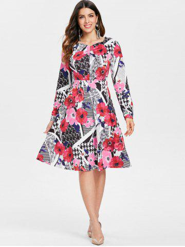 Long Sleeve Printed High Waist Dress