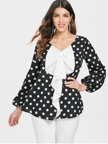 Dotted High Low Contrast Bowknot Blouse