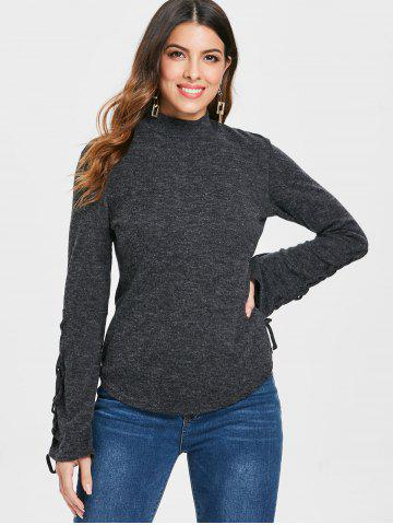 Mock Neck Lace Up Pullover Sweater