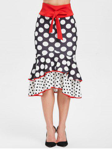 Polka Dot Long Layered Fishtail Skirt