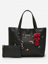 Bear Embellished 2 Pieces Shoulder Bag Set -
