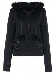 Zippered Hoodie with Faux Fur Panel -