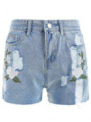 Floral Embroidery Mini Denim shorts -