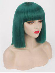 Short Neat Bang Blunt Straight Bob Synthetic Party Wig -