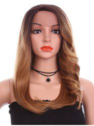 Long Side Parting Tail Adduction Straight Colormix Synthetic Lace Front Wig -