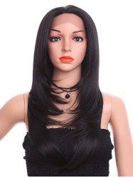 Long Free Part Layer Tail Adduction Straight Synthetic Lace Front Wig -
