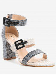 Dual Buckle Strap Block Heel Linen Sandals -