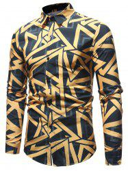 Casual Color Block Triangle Print Shirt -