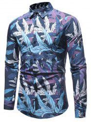 Leaves Print Button Up Shirt -