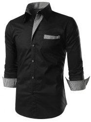 Casual Checked Panel Button Up Shirt -