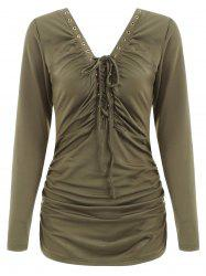 Ruched Lace Up T-shirt -