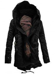 Hooded Double Zip Up Padded Parka Coat -