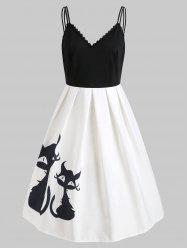 Black Cats Print Cami Straps Vintage Dress -
