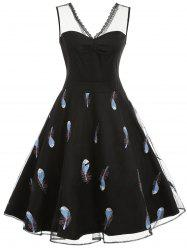 Feathers Embroidery Sleeveless Fit and Flare Dress -