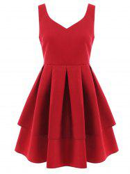 V Neck Sleeveless Fit and Flare Dress -