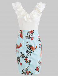 Ruffles Trim Floral Print Pencil Dress -