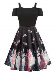 Cold Shoulder Cat Print Pin Up Dress -