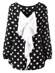 Dotted High Low Contrast Bowknot Blouse -