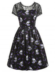 Skull Floral Print Halloween Swing Dress -