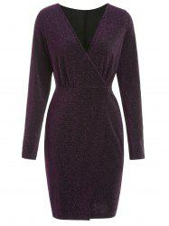 Full Sleeve Glitter Surplice Dress -