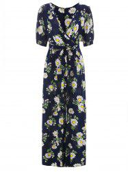 Half Sleeve Floral Print Maxi Surplice Dress -