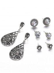 Hollow Out Water Drop Flora Earrings Set -