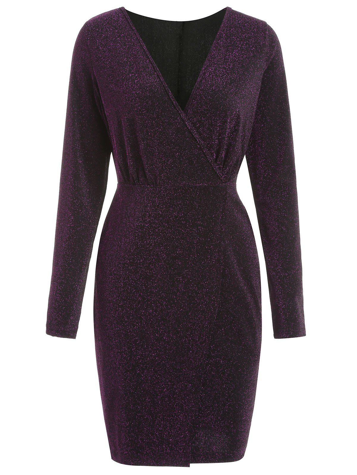 Latest Full Sleeve Glitter Surplice Dress