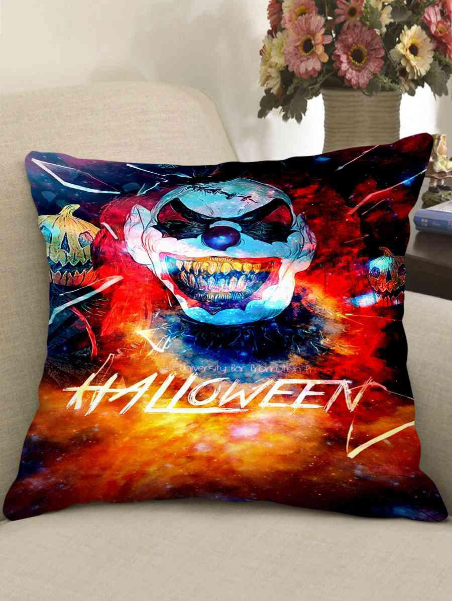 Fashion Halloween Clown Print Decorative Sofa Pillowcase