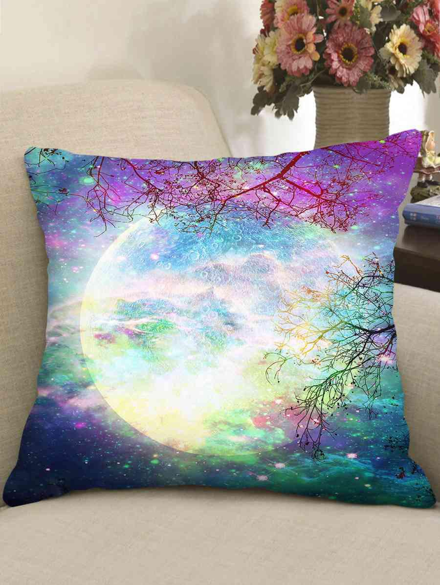 Hot Galaxy Moon Double-side Print Decorative Sofa Pillowcase