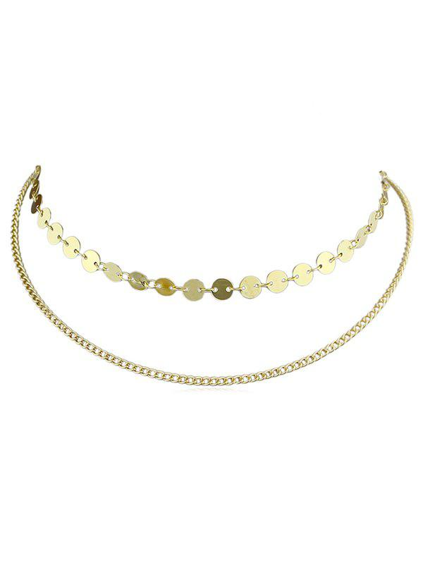 Outfits Alloy Layer Disc Necklace