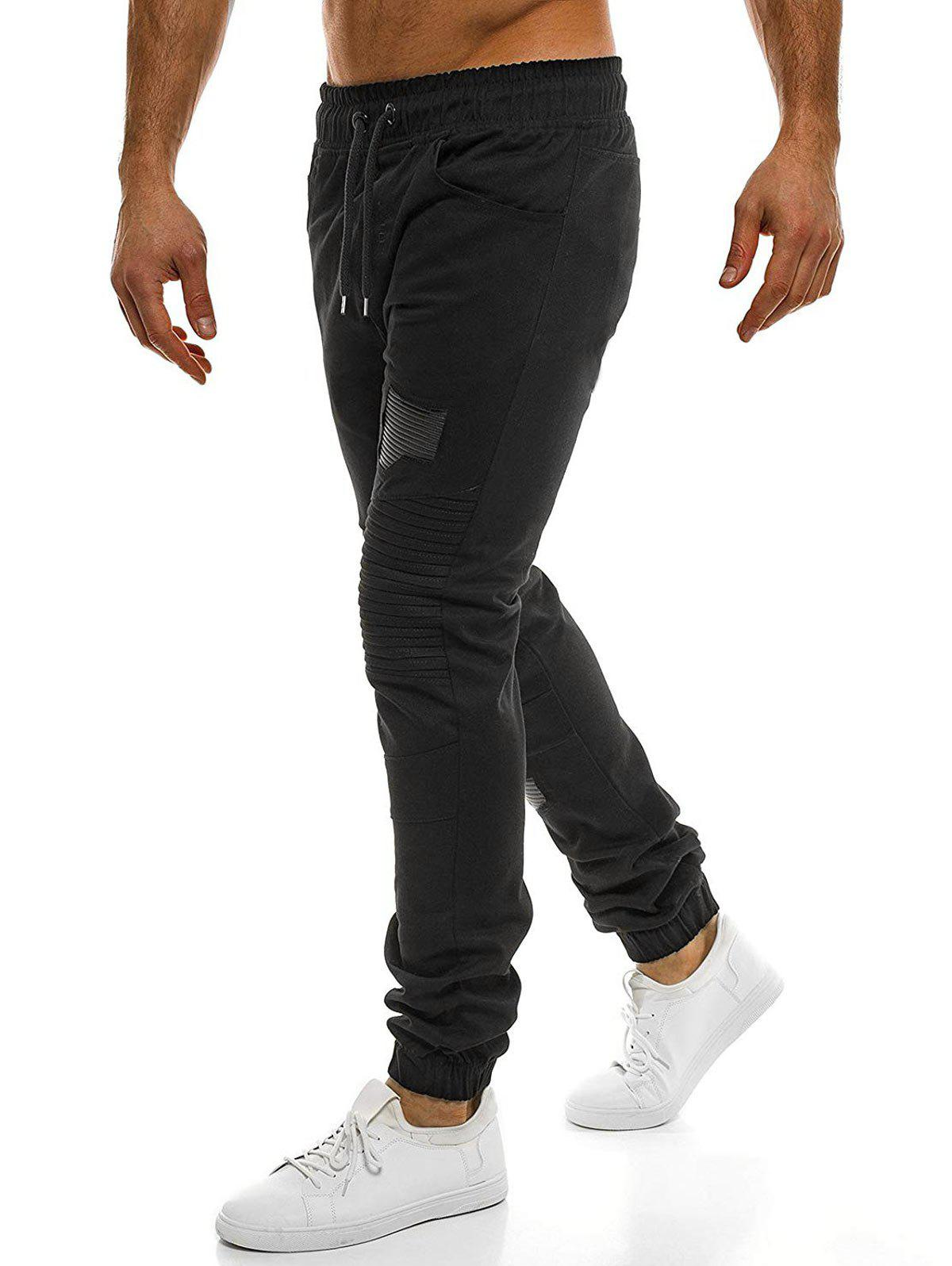 Outfit Casual Holes Patch Pleated Sports Jogger Pants