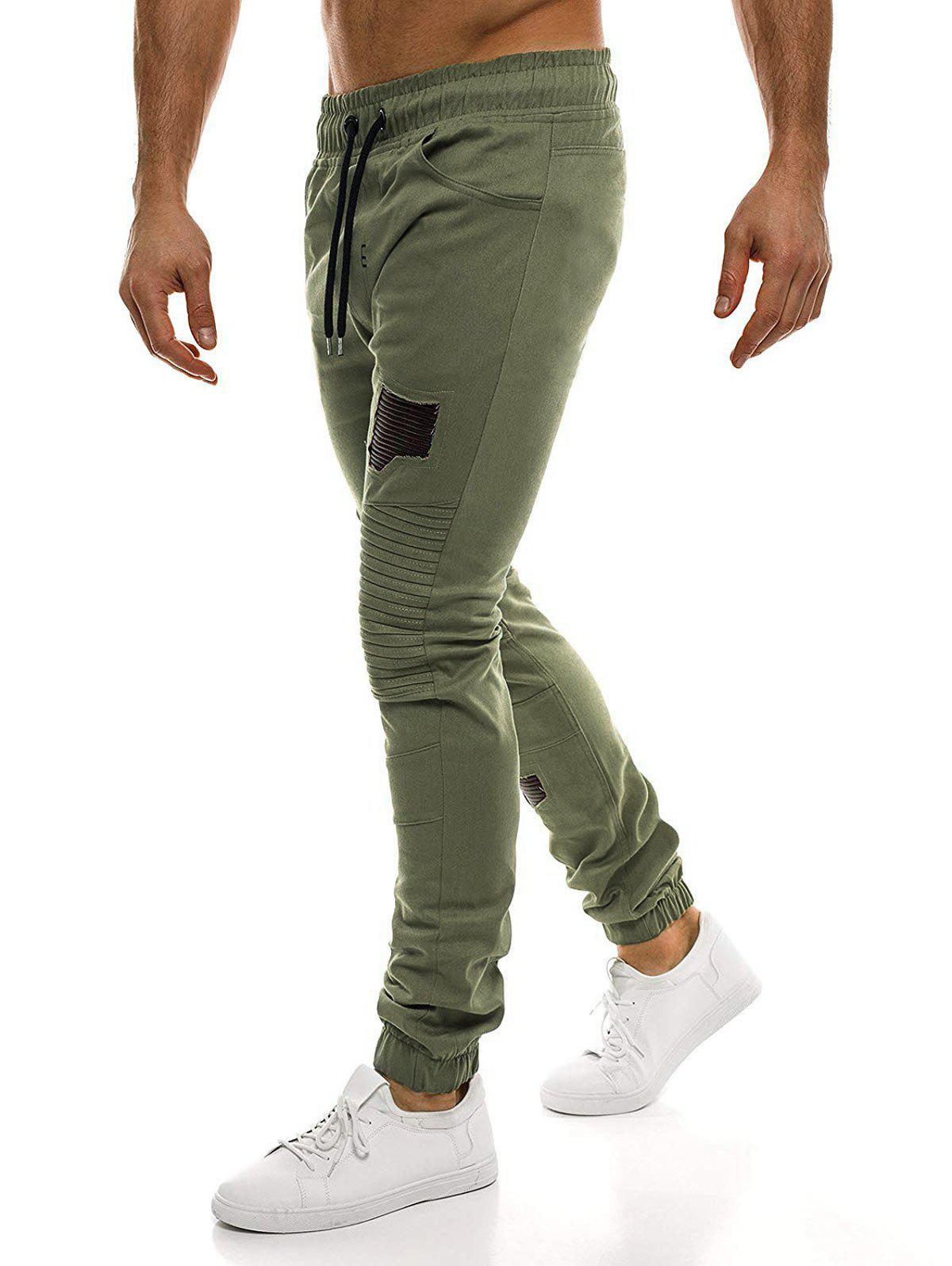 Fashion Casual Holes Patch Pleated Sports Jogger Pants