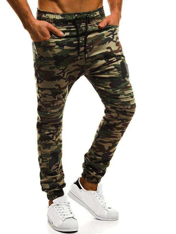 Latest Casual Holes Patch Pleated Sports Jogger Pants