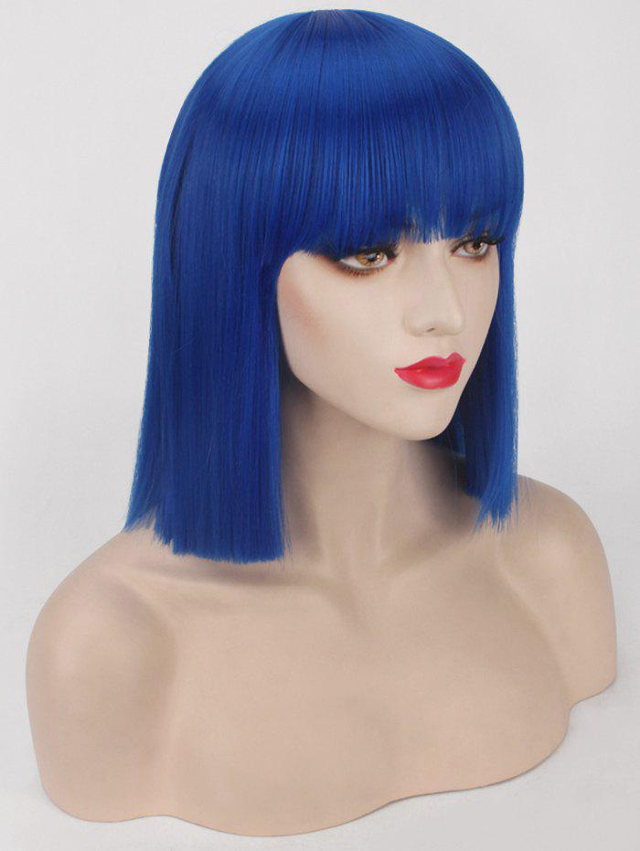 Cheap Short Neat Bang Blunt Straight Bob Synthetic Party Wig