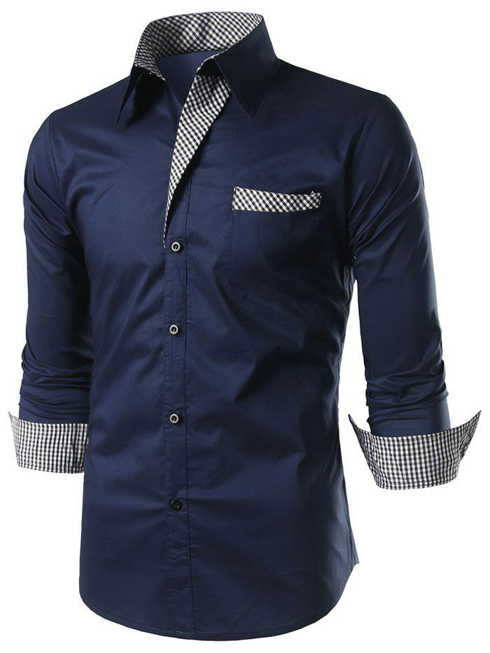 Fancy Casual Checked Panel Button Up Shirt