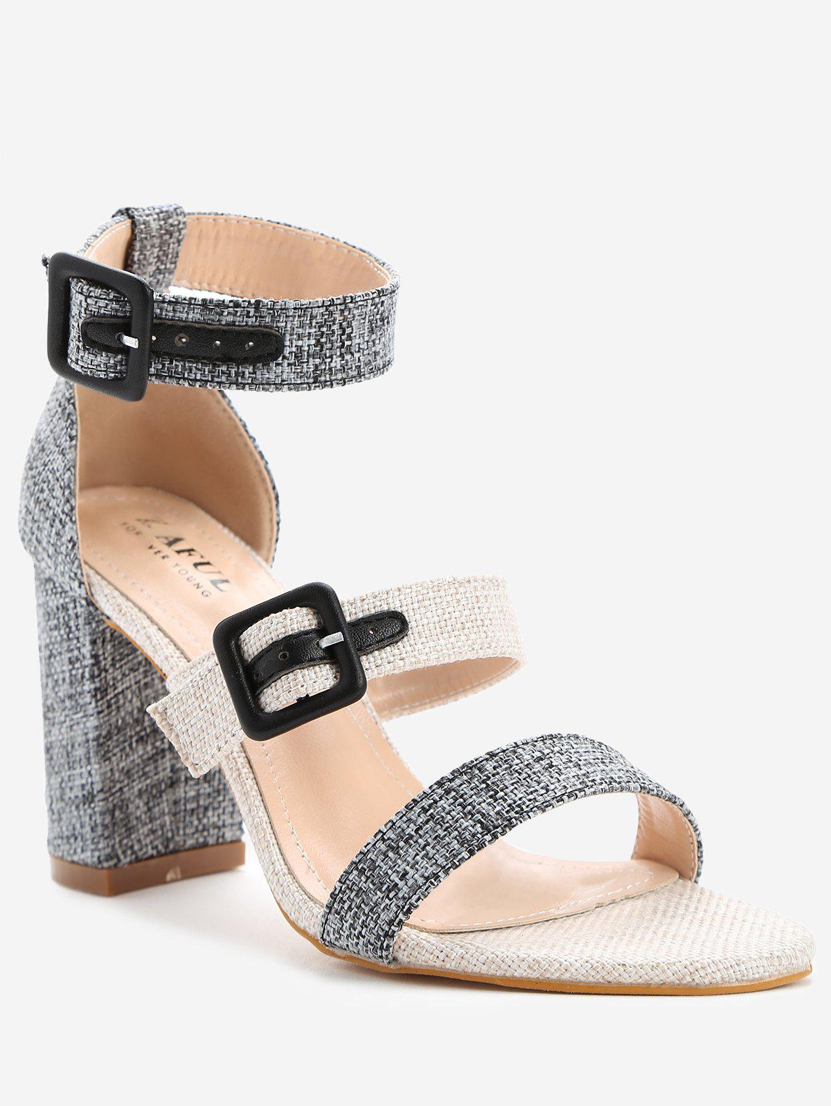 Buy Dual Buckle Strap Block Heel Linen Sandals